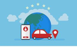 Lugar dos gps do carro, ilustração em linha do serviço do táxi ilustração stock