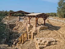 Lugar en donde bautizaron a Jesús en Bethany, Jordania Imagenes de archivo