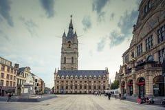 Lugar escénico del centro de ciudad del ` s de Gante viejo - Gante, Bélgica imagenes de archivo