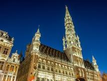 Lugar grande em Bruxelas no crepúsculo Fotografia de Stock