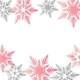 Lugar gris colorido de los copos de nieve del rosa en colores pastel de la bandera del invierno para el tex stock de ilustración
