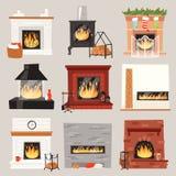 Lugar morno do fogo do vetor da chaminé no interior da casa no Natal no inverno para aquecer o grupo da ilustração da casa de que ilustração do vetor