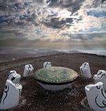 Lugar para la meditación en el desierto del Néguev Fotos de archivo libres de regalías