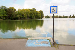 Lugar para la silla de ruedas Fotografía de archivo