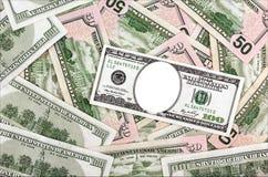 Lugar para seu retrato em cem notas de dólar no backg dos dólares Imagem de Stock Royalty Free