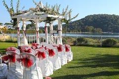 Lugar romántico del día de boda fotografía de archivo libre de regalías