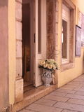 Lugar romântico da rua em Rovinj, Croácia Imagens de Stock