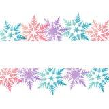 Lugar roxo azul colorido dos flocos de neve do rosa pastel da bandeira do inverno Imagens de Stock