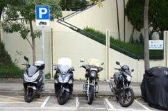 Lugares de estacionamento da motocicleta em Hong Kong Fotografia de Stock Royalty Free