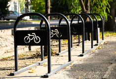 Lugares de estacionamento para bicicletas Foto de Stock