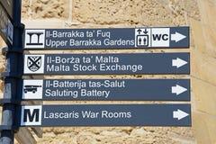 Lugares do sinal do interesse, Valletta Imagem de Stock Royalty Free