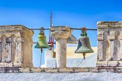 Lugares famosos do curso Igreja de StCatherine o monumento santamente de Ia na vila de Oia na ilha de Santorini em Grécia cl?ssic fotos de stock royalty free