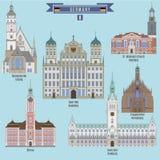 Lugares famosos en Alemania ilustración del vector