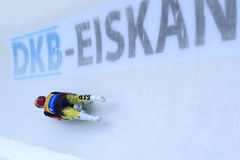 Luge - german doubles. The world cup leaders, Toni Eggert and Sascha Benecken from Germany, in men's doubles luge race held in Altenberg in Germany on 21.2.2015 Royalty Free Stock Images