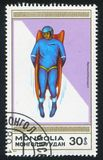 Luge. MONGOLIA - CIRCA 1989: stamp printed by Mongolia, shows luge, circa 1989 Royalty Free Stock Photo