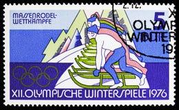 Luge, olimpiadas de invierno 1976, serie de Innsbruck, circa 1975 imagen de archivo libre de regalías