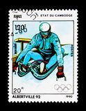 Luge, Olympic Games 1992 - Albertville serie, circa 1990. MOSCOW, RUSSIA - NOVEMBER 24, 2017: A stamp printed in Cambodia shows Luge, Olympic Games 1992 Stock Images