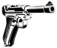 Luger P08 Parabellum retro pistol vector. Luger P08 Parabellum retro pistol vector illustration Royalty Free Stock Photo