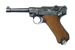 Luger P08 Pistol. A German (Pistole Parabellum 1908) Luger P08 pistol with the safety catch on. The Luger was made popular by its use by Germany during World War Royalty Free Stock Images