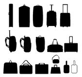 Luggage. Illustration of different suitcases, backpacks, briefcases, duffel, garment bags and bag tags