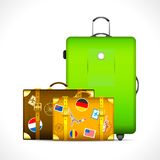 Luggage. Illustration of luggage with different country stamp sticker on them Royalty Free Stock Photo