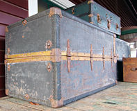 Luggage. Collection of vintage railway luggage trunks royalty free stock photography