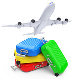 Luggage with airplane Stock Photography