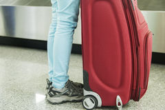 Luggage in airport conveyor belt Royalty Free Stock Photography