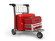 Luggage. Airport luggage trolley with suitcases on white background 3D rendering Stock Photography