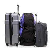 Luggage backpack and two suitcases Royalty Free Stock Photo