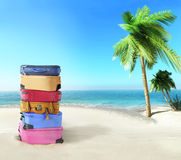 Luggage on the beach Royalty Free Stock Images