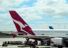 Luggage boarding Aeroplane closeup at airport terminal for departure. Luggage boarding Aeroplane in airport for departure in Australian airport Royalty Free Stock Photo