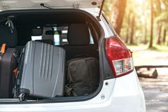 Luggage  : Car trunk with luggage. Travel concept Royalty Free Stock Photo