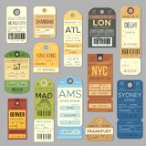 Luggage carousel baggage vintage tag symbols. Old train ticket and airline journey stamp symbol. London tour trip ticket royalty free illustration