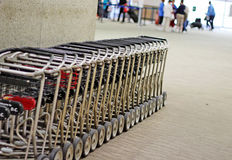Luggage Cart. S for rent lined up in an airport terminal Royalty Free Stock Images