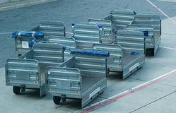 Luggage cart at an airport Royalty Free Stock Photography