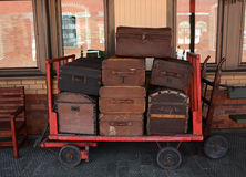 Luggage. Cart at Boness railway near edinburgh royalty free stock photo