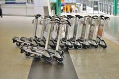 Luggage cart at Hong Kong Airport. Row of luggage carts at Hong Kong International Airport Stock Image
