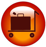 Luggage cart icon. Web button of flat pull trolley cart with luggage on it Stock Photo