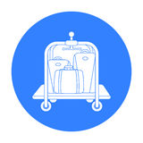 Luggage cart icon in black style isolated on white background. Hotel symbol stock vector illustration. Royalty Free Stock Photo