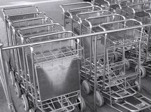 Luggage Carts. Stainless steel carts for luggage transportation Stock Image