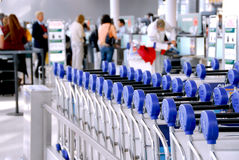 Luggage carts at airport Stock Photography