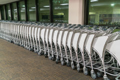 Luggage carts at airport terminal . Stock Photography