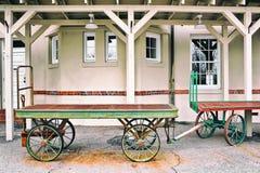 Luggage Carts at Train Depot Royalty Free Stock Photography