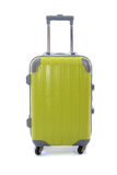 Luggage. Close up of green luggage on white background isolated stock photography