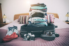 Luggage with clothes and other items Royalty Free Stock Image