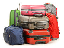 Luggage consisting of large suitcases backpack and travel bag. Luggage consisting of large suitcases rucksack and travel bag on white Stock Image