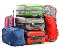 Luggage consisting of large suitcases rucksack and travel bag. On white Royalty Free Stock Photography