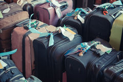 Luggage consisting of large suitcases rucksacks and travel bag.  Stock Photo
