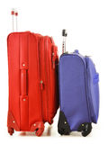 Luggage consisting of large suitcases and travel bag on white.  Stock Photography